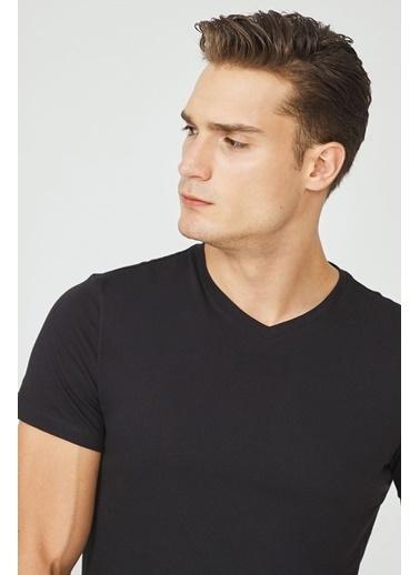 Avva E001001 V Yaka Düz T-Shirt E001001 Siyah